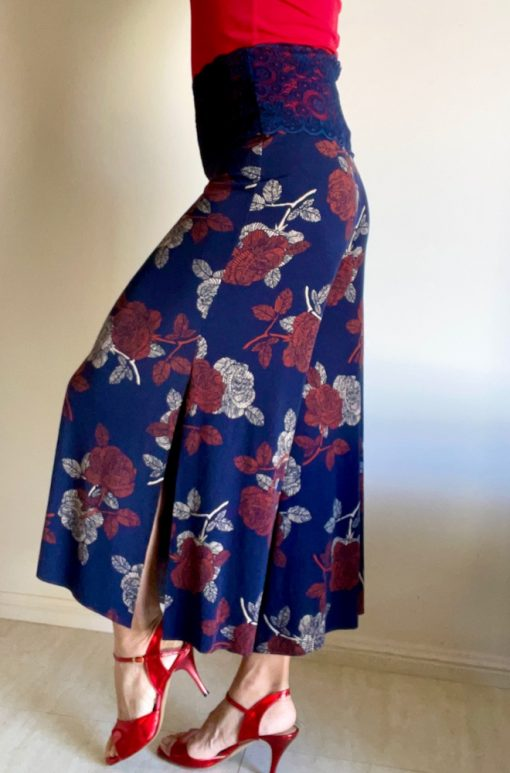 Side view of Navy Autumn Roses Tango Pants