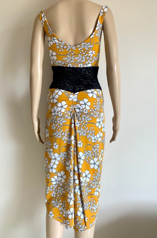 Back view of Mustard White Flowers Ruched Dress