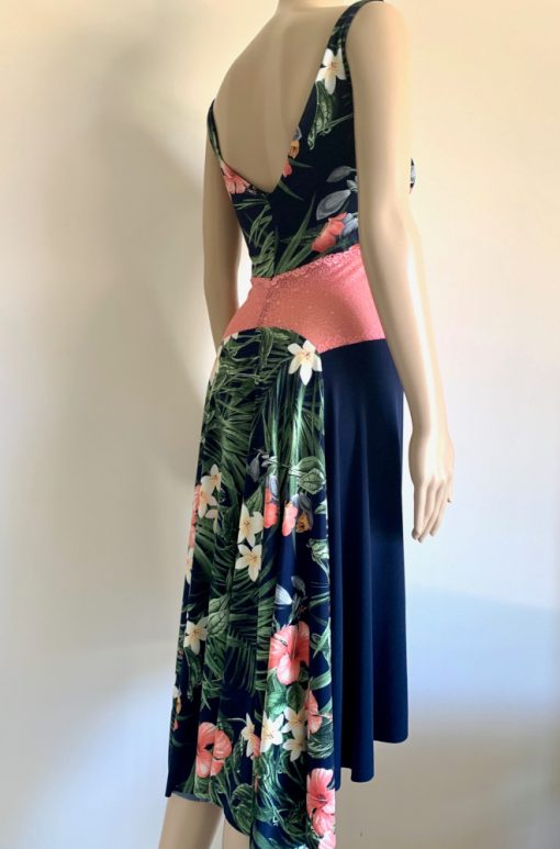 Back view of Navy Tropicana Fantail Dress