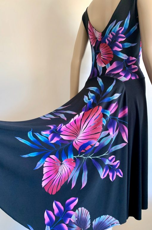 Back view of giant foliage fantail dress
