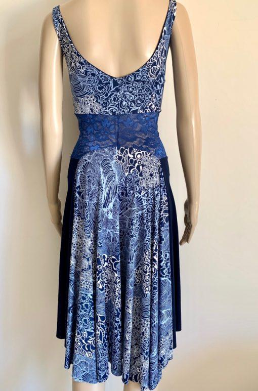 Back view of Blue Oceana Fantail Dress