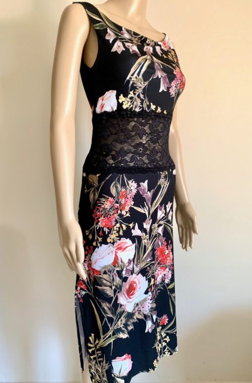 Front view of Black Rosy Bloom Pencil Dress