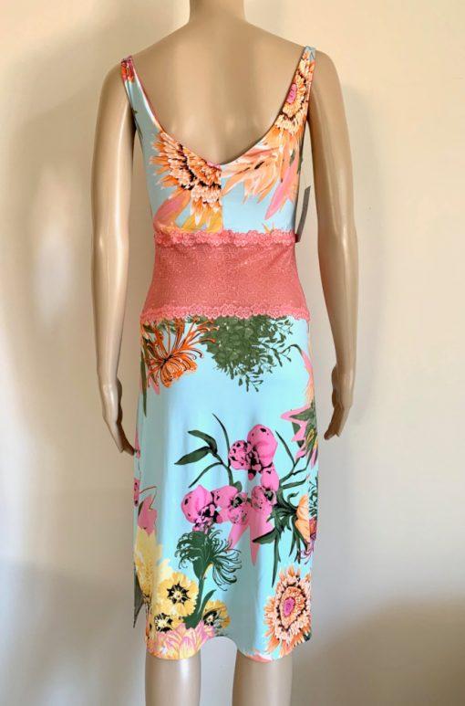 Back view of Blue Floral Bouquet Pencil Dress