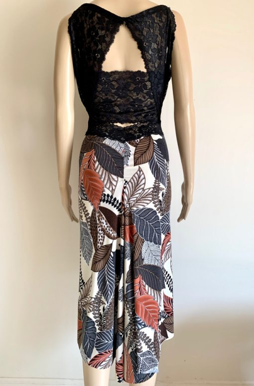 Back View of Brown Leaves Lace Dress