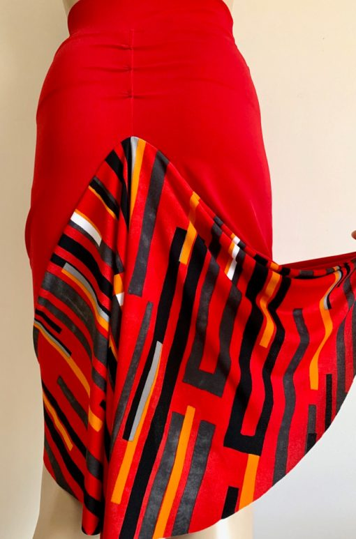 Back view of Red Geo Shapes Fishtail Skirt