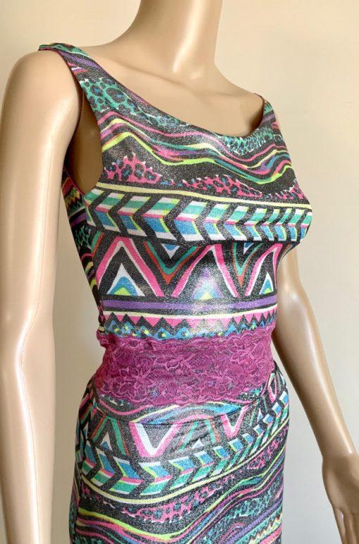 Front view of Coloured Zebra Tango Top