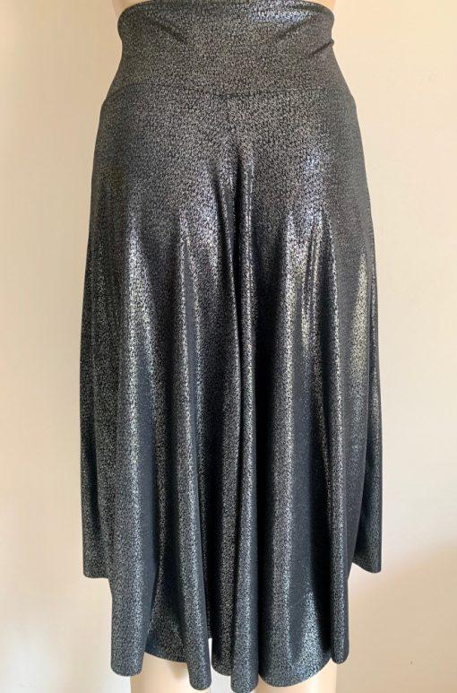 Back view of Liquid Metal Red Flowers Tango Skirt