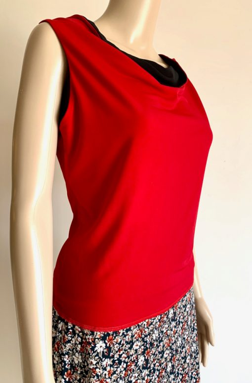 Front view of Black and Red Reversible Cowlneck Top