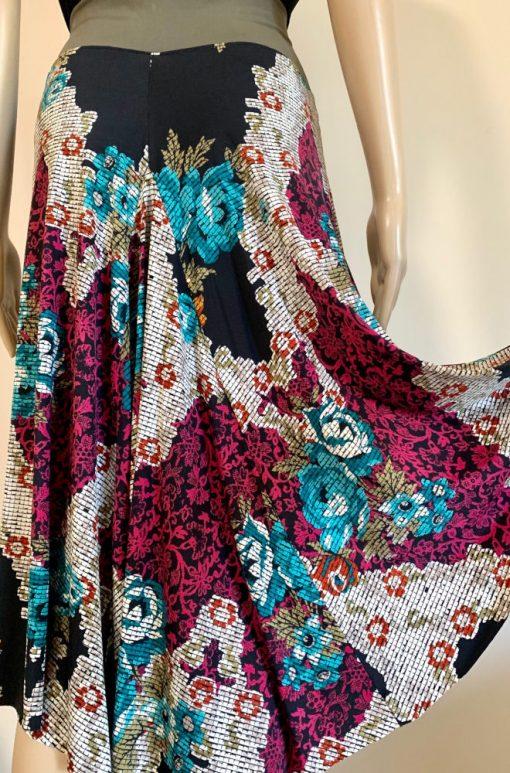 Back view of Digital Roses Tango Skirt