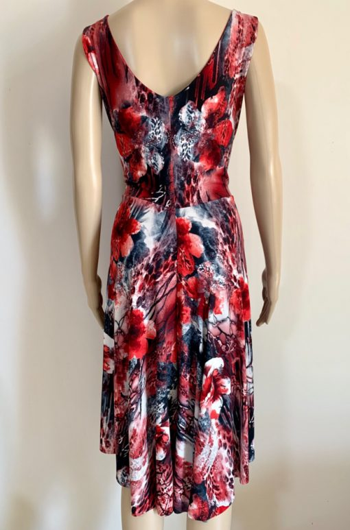 Back view of Red Floral Art Tango Dress