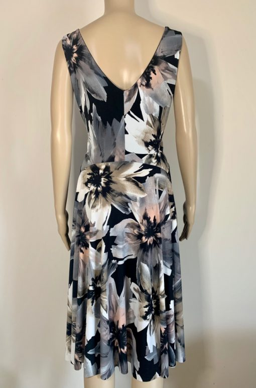 Back view of Grey Flowers Fantail Dress