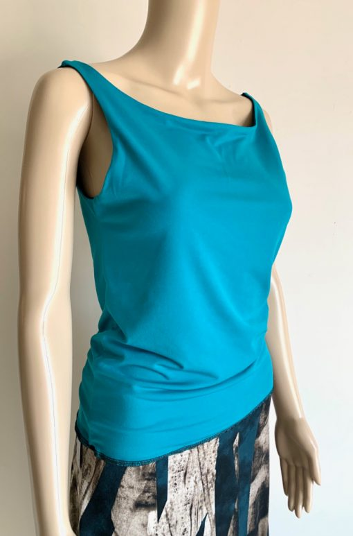Front view of Sea Green and Black Reversible Top