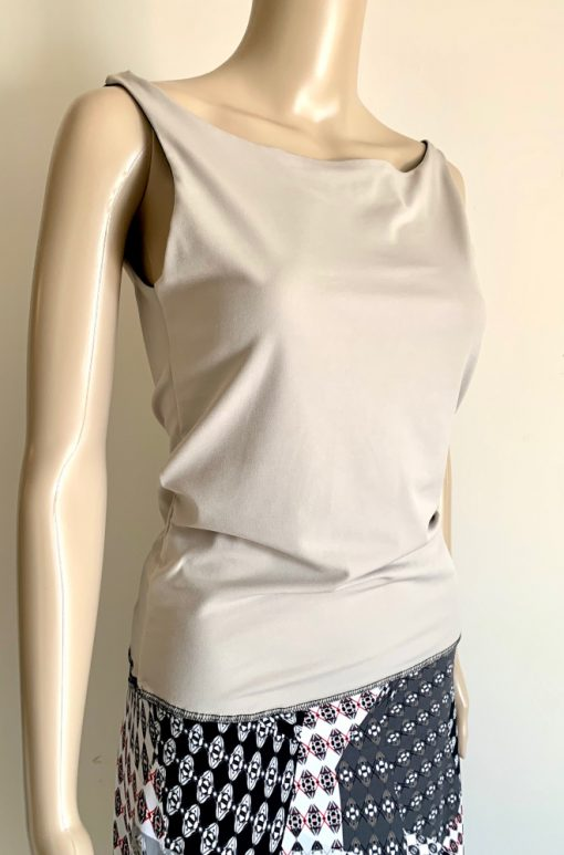 Front view of Beige and Black Reversible Top