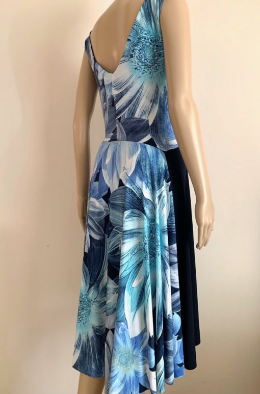 Back view of Blue Flowers Fantail Dress