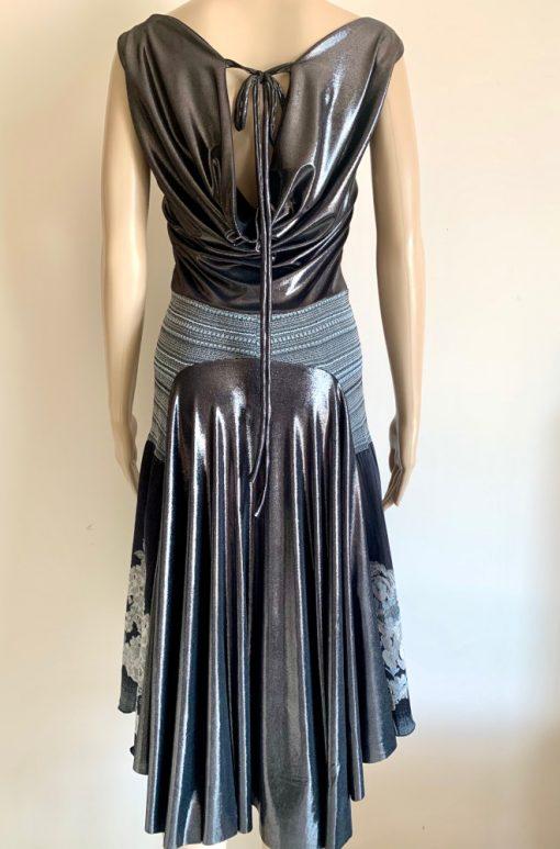 Back view of Titanium Blooms Draped Back Dress