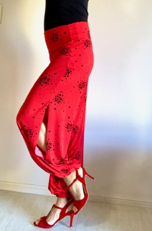 Side view of Red Love Heart Tango Pants