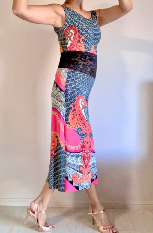 Side view of Pink Paisley Tango Jumpsuit