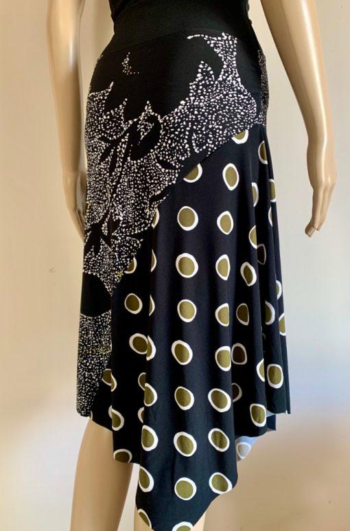 Back view of Shapes of Black Asymmetrical Hem Skirt