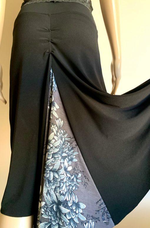 Back view of Black Night Bloom Fishtail Skirt