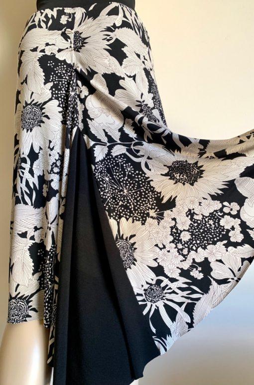 Back view of Black Sunflower Fishtail Skirt